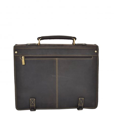 Mens Leather Cross Body Briefcase Satchel Hall Brown