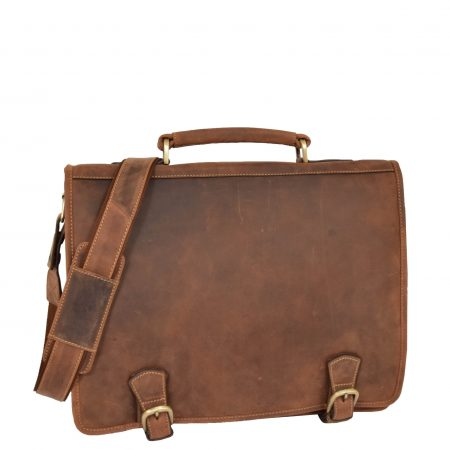 Mens Leather Cross Body Briefcase Satchel Hall Tan