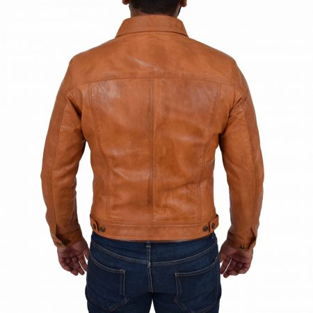 Men's Leather Lee Rider Casual Jacket Terry Tan