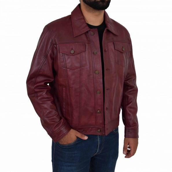 Mens Leather Lee Rider Casual Jacket Terry Burgundy