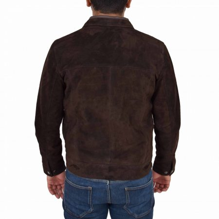 Mens Real Suede Casual Harrington Jacket Larry Brown