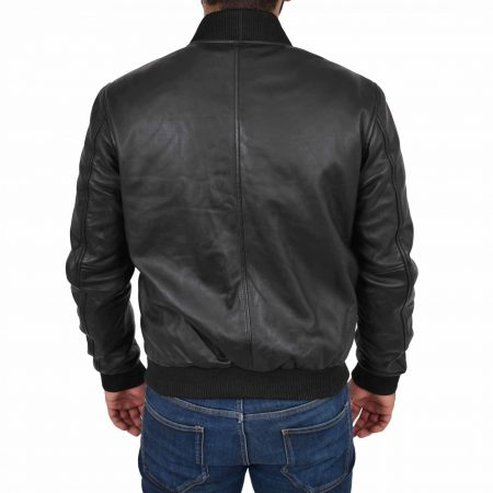 Mens Leather MA-1 Bomber Jacket Ryan Black
