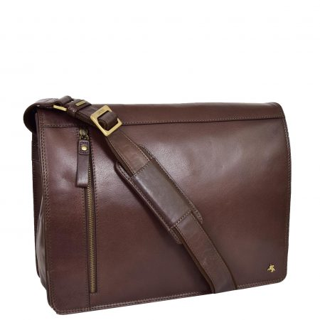 Mens Leather Cross Body Satchel Bag Hector Brown