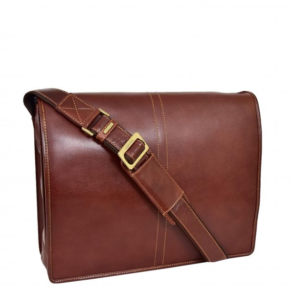 Mens Leather Cross Body Messenger Bag Roy Brown