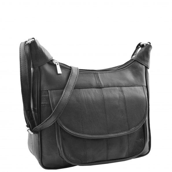 Women's Leather Cross Body Organiser Bag Black