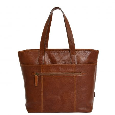 Womens Real Leather Tote Shoulder Bag Jordana Tan