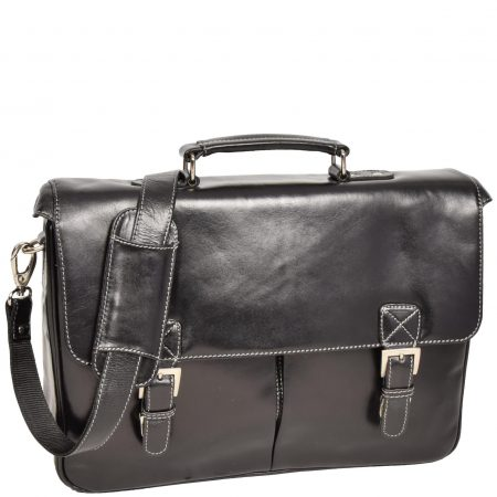 Mens Leather Messenger Briefcase HOL518 Black