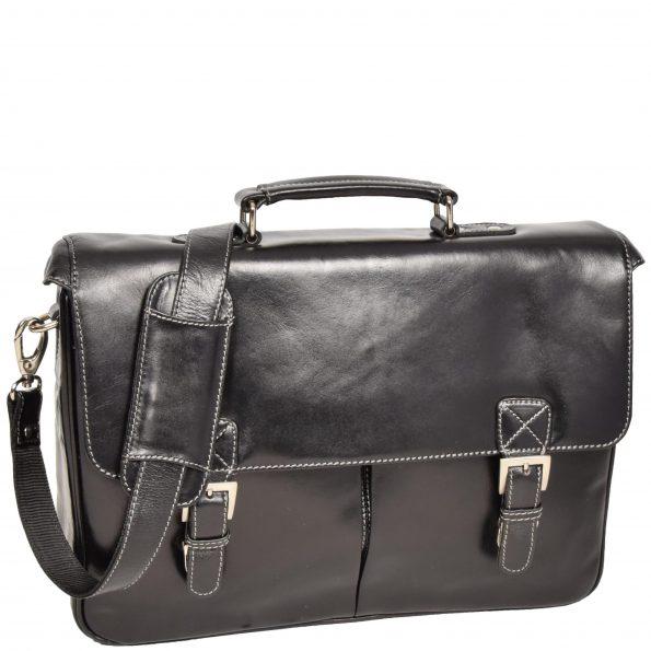 Mens Leather Messenger Briefcase HOL518 Black