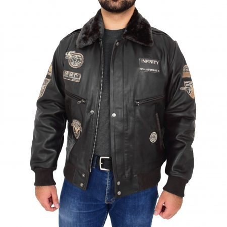 Mens Leather Bomber Pilot Jacket Asher Black