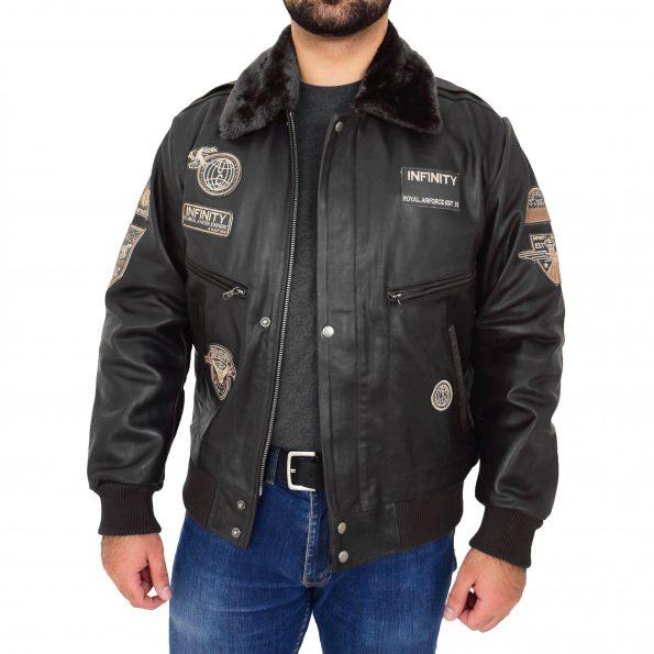 Mens Leather Bomber Pilot Jacket Asher Black
