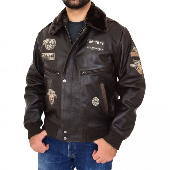 Mens Leather Bomber Pilot Jacket Asher Brown
