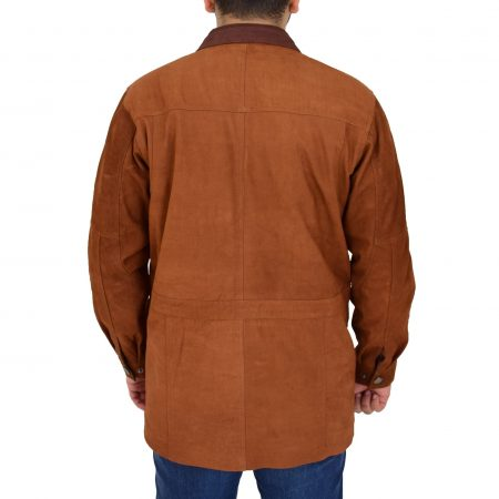 Mens Leather Winter Car Coat Hip Length Jason Tan Nubuck
