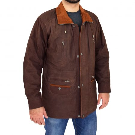 Mens Leather Winter Car Coat Hip Length Jason Brown Nubuck