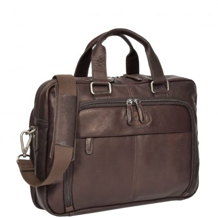 Mens Leather Laptop Organiser Briefcase HL341 Brown