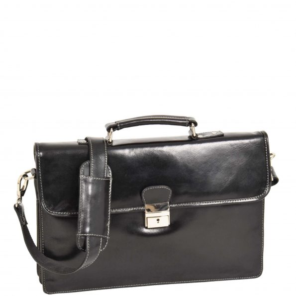 Slimline Leather Organiser Briefcase Black