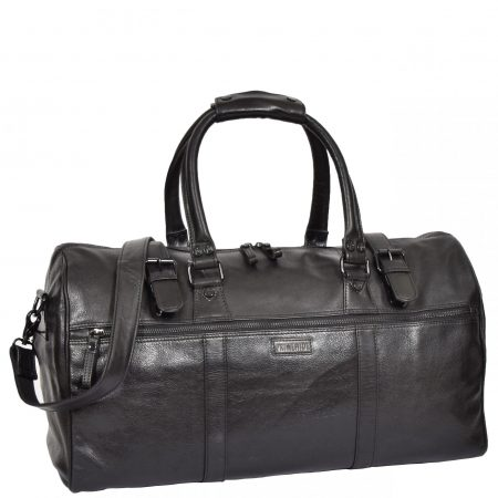 Soft Leather Sports Barrel Bag Porto Black