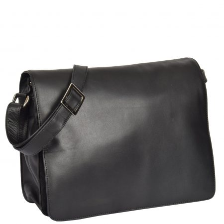 Womens Soft Leather Large Flap Over Bag Maui Black