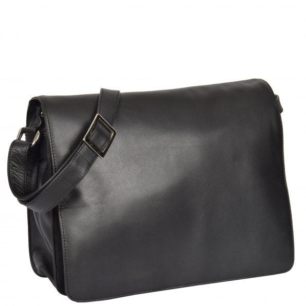 Womens Soft Leather Large Flap Over Bag Maui Black