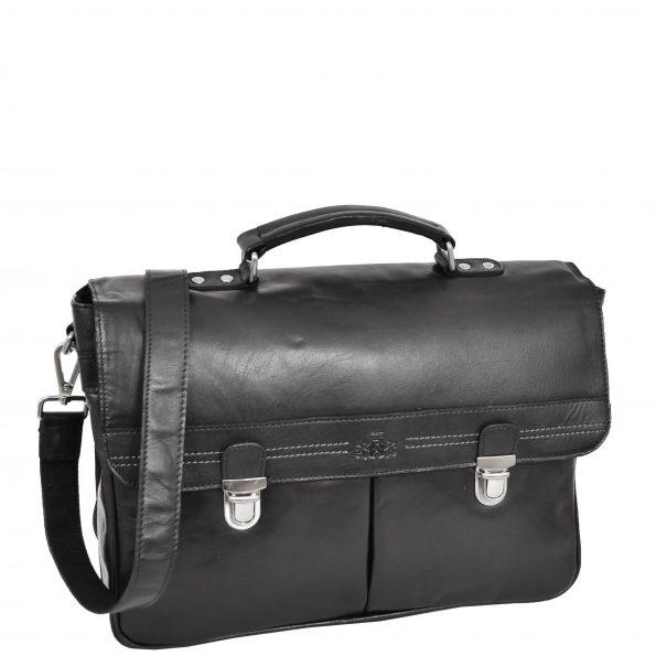 Mens Leather Briefcase Cross Body Satchel Bag Clinton Black