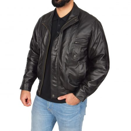 Mens Leather Bomber Blouson Jacket Robert Black