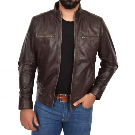 Men's Standing Collar Leather Jacket Tony Brown