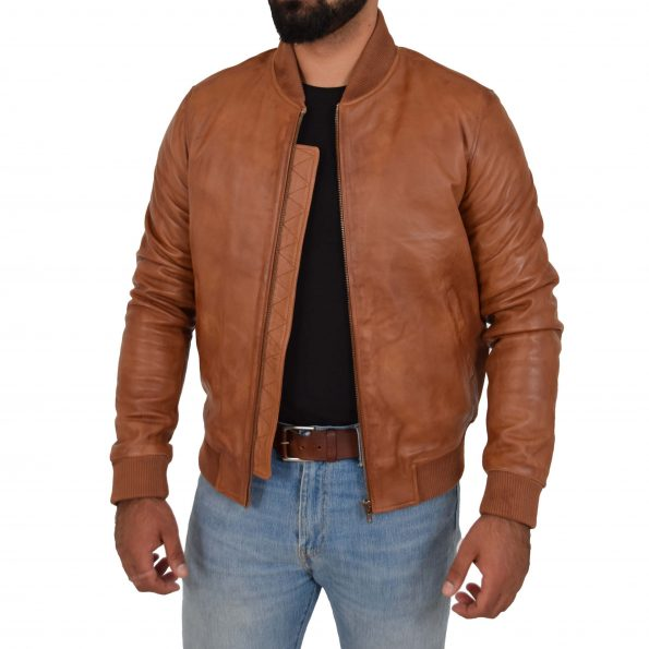 Mens Leather MA-1 Bomber Jacket Ryan Tan