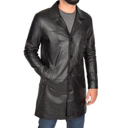 Mens Leather 3/4 Length Crombie Coat Jimmy Black