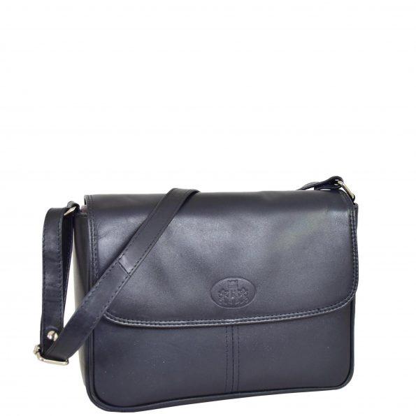 Womens Classic Soft Leather Cross Body Bag Ava Blue