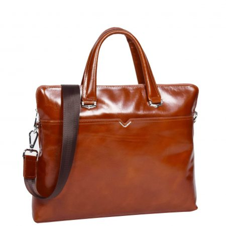 Italian Leather Cross Body Briefcase H9891 Tan