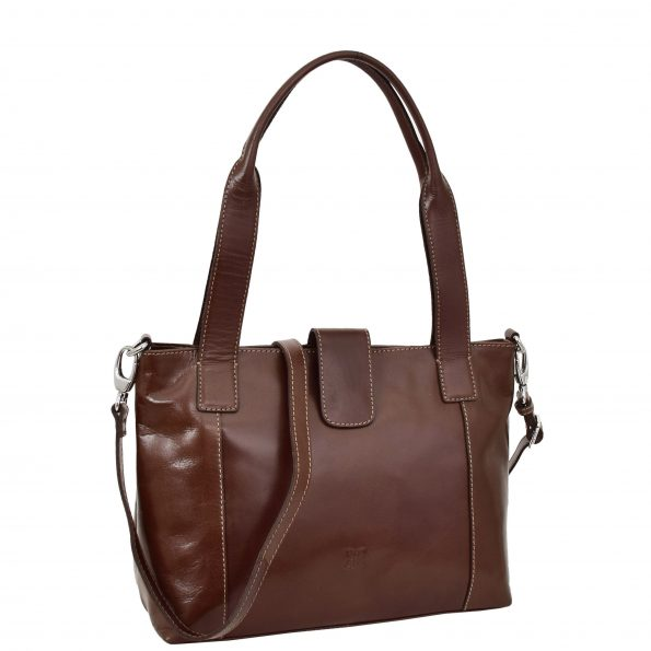 Womens Real Leather Classic Shoulder Bag Anna Brown