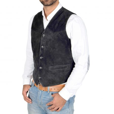 Mens Suede Button Fastening Waistcoat Don Black
