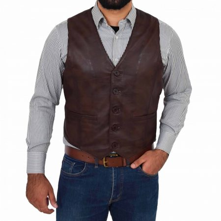 Mens Button Fastening Leather Waistcoat Nick Brown