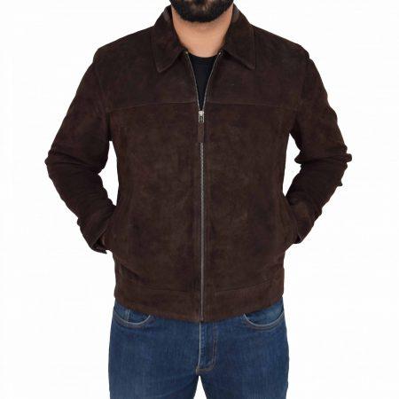 Mens Real Suede Casual Harrington Jacket Larry Brown