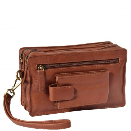 Real Leather Travel Wrist Pouch Bahamas Brown