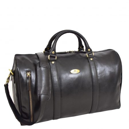 Leather Holdall Mid Size Barrel Shape Duffle Bag Orlando Black