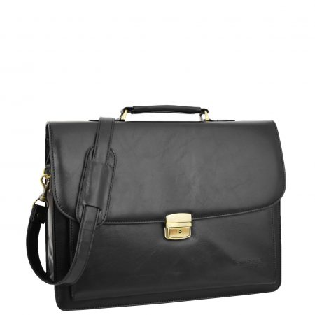 Mens Faux Leather Flap Over Briefcase Windsor Black