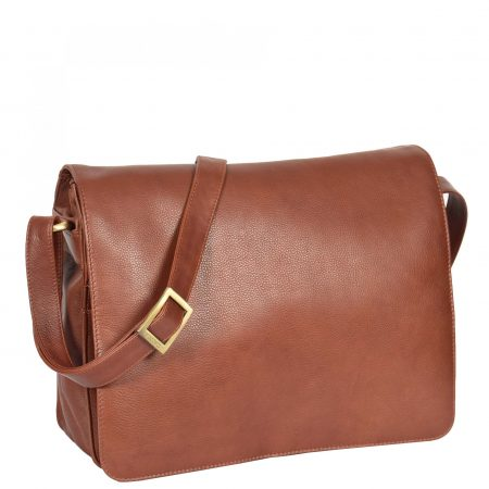 Womens Soft Leather Large Flap Over Bag Maui Brown