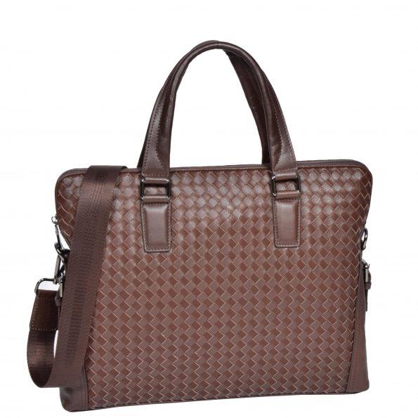 Braided Leather Organiser Bag Brown
