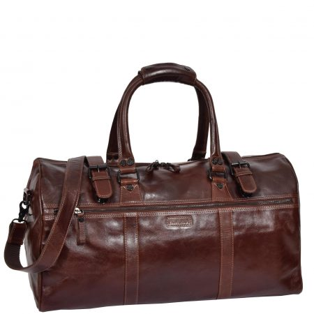 Soft Leather Sports Barrel Bag Porto Brown