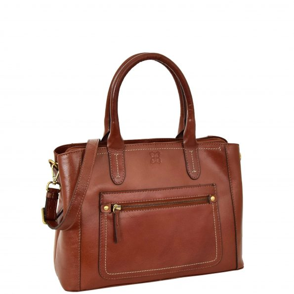 Women's Leather Tote Fashion Handbag Luna Tan