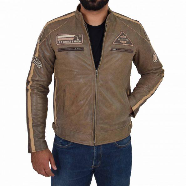 Mens Biker Leather Jacket with Badges Kurt Brown