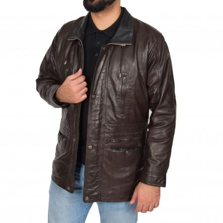 Mens Leather Winter Car Coat Hip Length Jason Brown