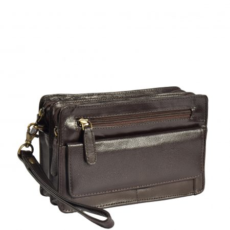 Leather Wrist Clutch Bag Ralf Brown
