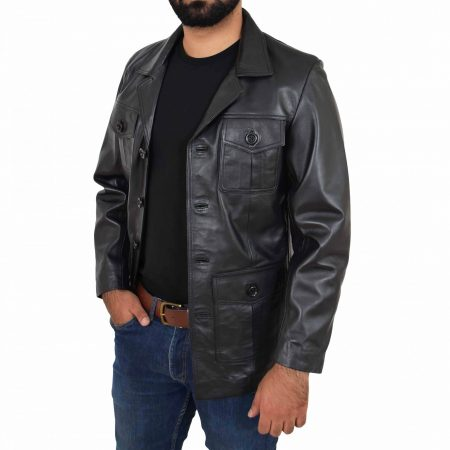 Mens Button Fastening Reefer Leather Jacket Jerry Black