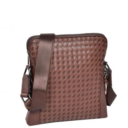 Braided Design Leather Flight Bag H9682 Brown