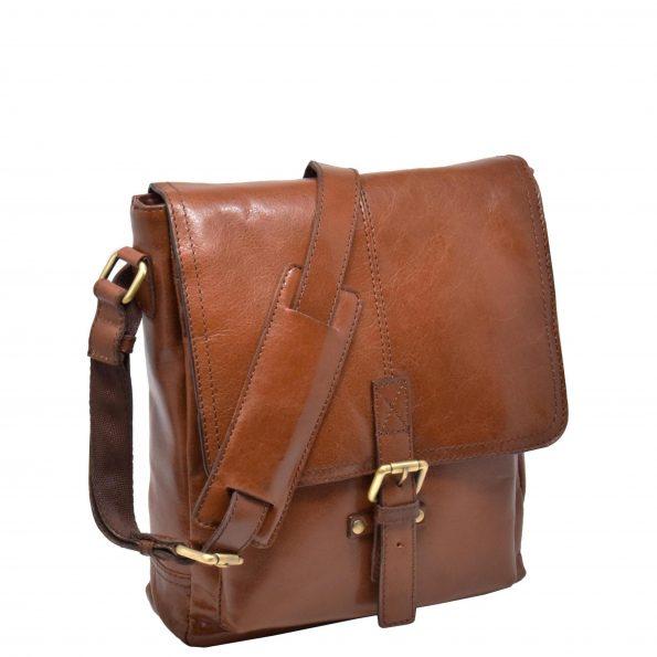 Mens Leather Cross Body Casual Bag HOL14 Tan