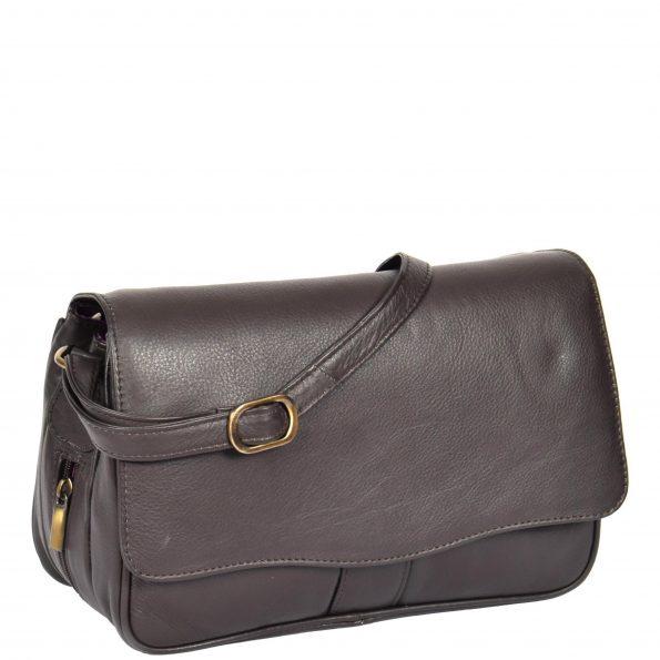 Womens Leather Classic Organiser Bag Matilda Brown