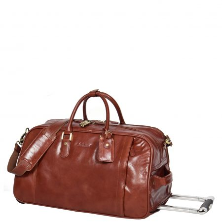 Exclusive Leather Wheeled Holdall Mexico Cognac
