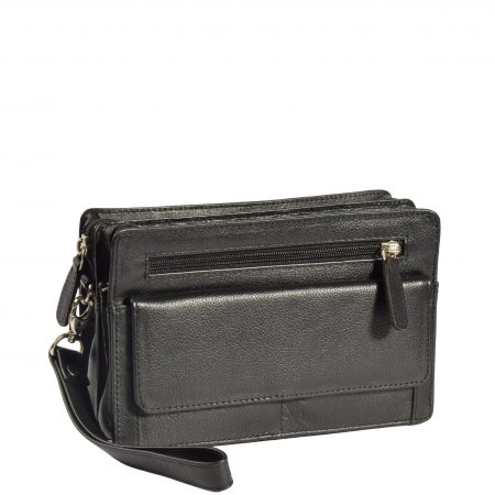 Leather Wrist Clutch Bag Ralf Black