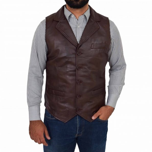 Mens Leather Buttoned Waistcoat Gilet Calvin Brown